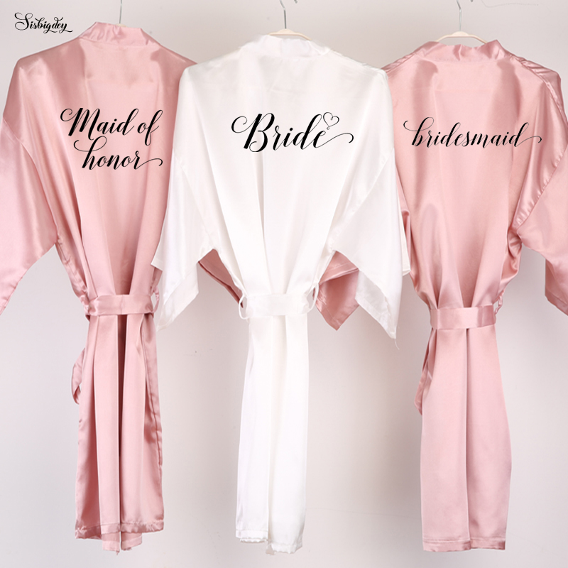 Sisbigdey dusty pink bride robe satin robe women bridal pajamas wedding brideslmaid gift mother sister of the bride groom robes(China)