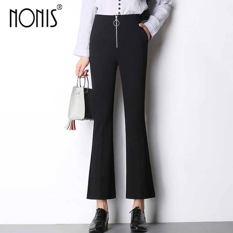 Nonis Ankle Length Women 2017 New   Capri   Trousers wide leg   pants   ladies office work Black Plus Size Femme Pantalon high waist
