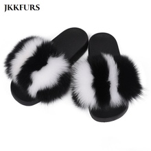 2019 New Womens Slippers Fox Fur Slides Mixed Color Real Sliders Big Fluffy Indoor Top Quality S6025