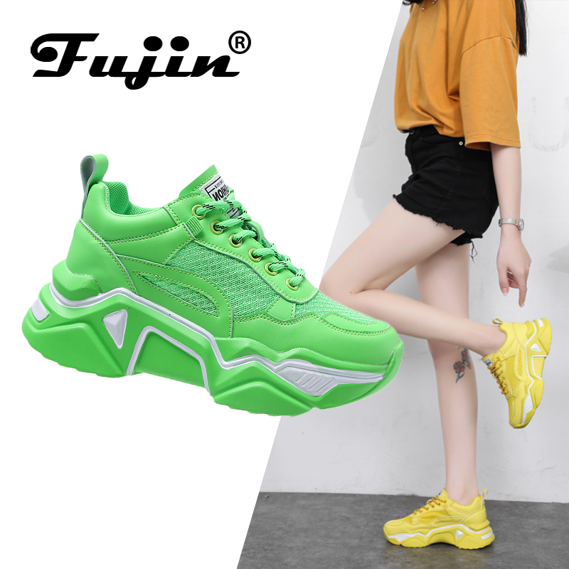 Fujin women's platform sneaers Causal Shoes walking Increasing 5CM INS Sneakers Height Platform Breathable vulcanize Sneakers