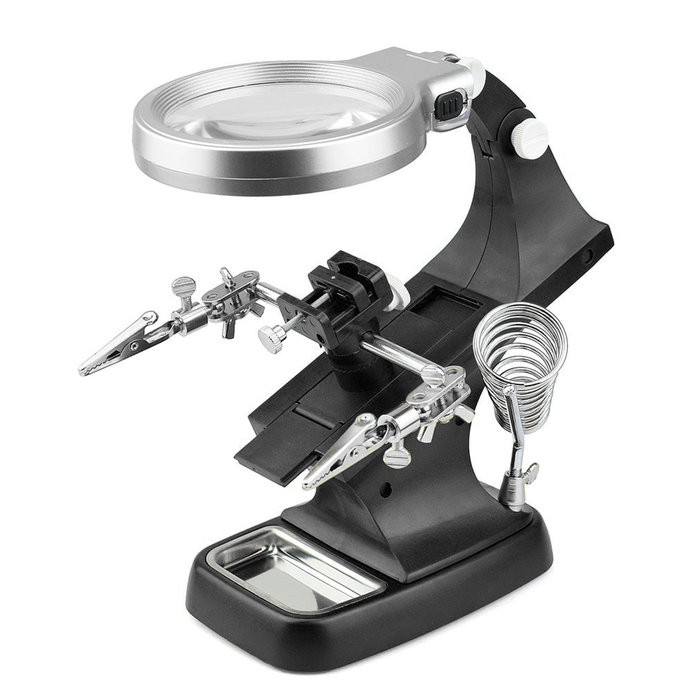 Magnifier Hand Soldering Led Illuminated Stand Magnifying Glass Auxiliary Helping Clamp Alligator Clip Desktop