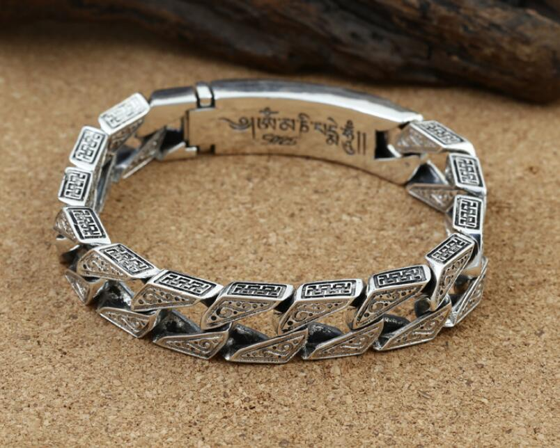 купить vajra six words mantra carved bangle big thick solid bracelet religious silver jewelry (FGL)