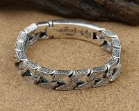 vajra six words mantra carved bangle big thick solid bracelet religious silver jewelry (FGL)