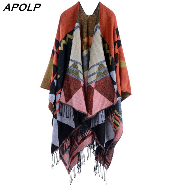 APOLP 2017 New Brand Women's Winter Poncho Vintage Blanket Lady Knit Shawl Cape Cashmere Scarf Poncho Multi-Function Blanket
