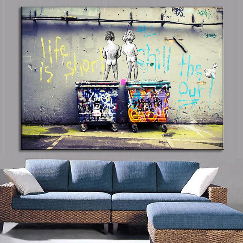 1 pcs modern banksy art life is short chill the duck out wall art