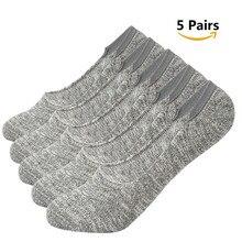 AZUE Men/Women's No Show Socks 5 Pairs Non Slip Cotton Low Cut Casual Socks Invisible Flat Boat Liner Socks