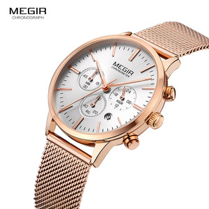 Image 2 - MEGIR pulsera de malla de acero inoxidable para mujer, relojes de cuarzo, cronógrafo, 24 horas, indicador de fecha, reloj de pulsera analógico para mujer 2011L