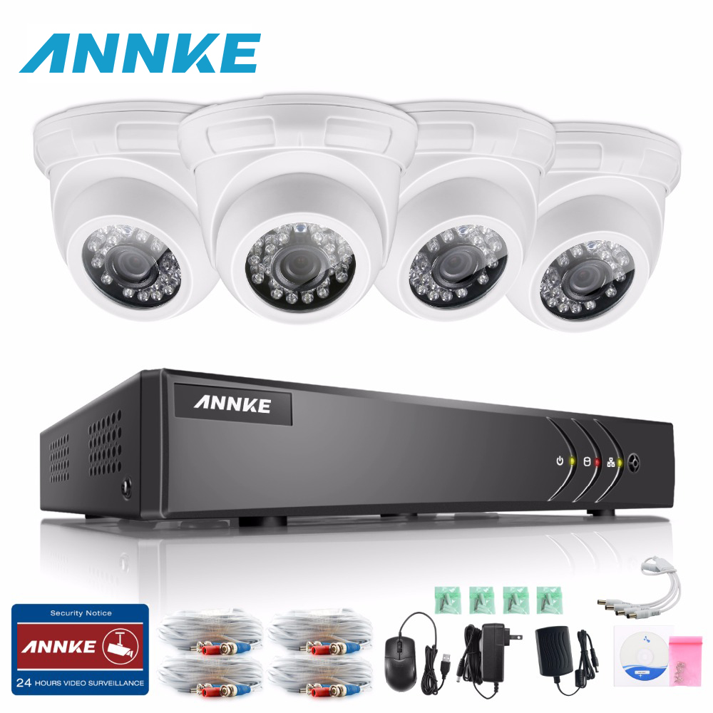 ANNKE HD 4CH CCTV System 1080P HDMI DVR 4PCS 720P 1200TVL IR Outdoor Security Camera System 4 Channel CCTV Surveillance Kit sannce 4 channel 720p dvr cctv camera system 2pcs 1200tvl 720p ir outdoor security camera system surveillance kit 1tb hdd