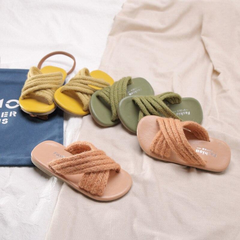 Girls Slippers Shoes Soft-Sole Pantufa Infantil Summer Rope Open-Toe Hemp Comfortable