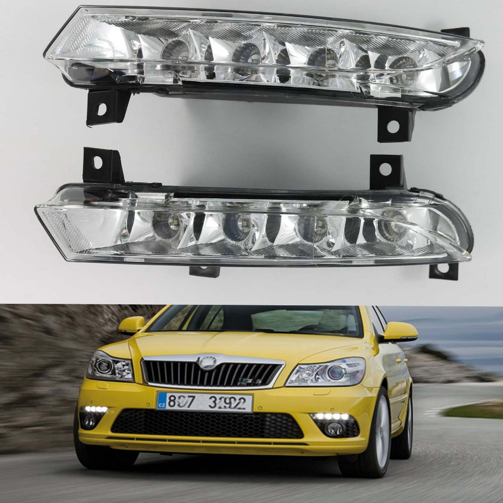 New Car LED Light For Skoda Octavia A5 A6 RS 2009 2010 2011 2012 2013 Car styling New LED DRL Daytime Running Light