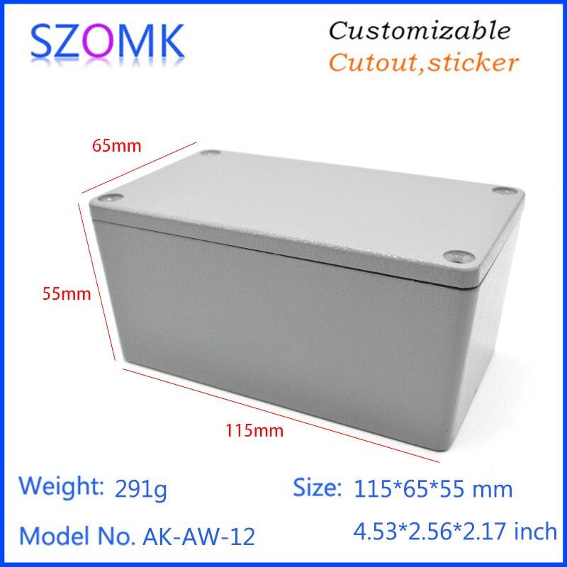 1 Piece 115 65 55mm Grey Aluminum Equipment Enclosure