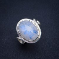 Natural Rainbow Moonstone Handmade Unique 925 Sterling Silver Ring 7.75 B1050