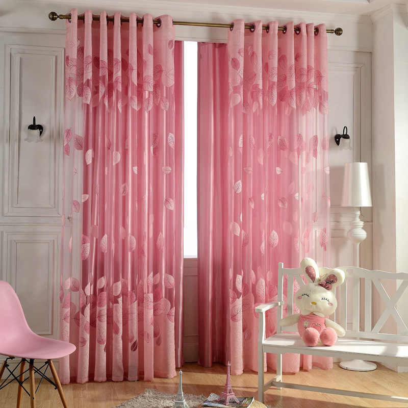 Leaves Design Jacquard Curtain Fabrics Window Balcony Pink Tulle For Living Room European Style Curtains Purple Sheer WP347-30