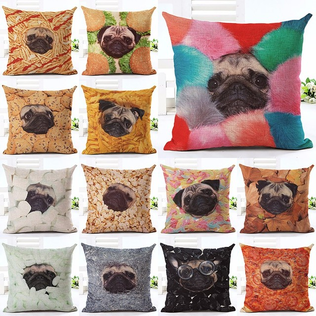 Nordic Style Animal Pillowcase Painting French Bulldog Pug Cushion Delectable French Pillows Home Decor