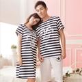Grlbobra 2017 verano nueva pareja shortsuit conjuntos pijamas de las mujeres de los hombres de algodón a rayas de manga corta ocasional de las mujeres del camisón de 0303246