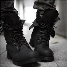 Retro Combat Timber Boots Winter Warm England-style Fashion Men's High Top Rain Boot Black Shoes Hot Sale Men Casual Ankle Botas