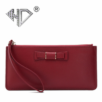 HD 2017 Multi Card Long Wallet Genuine Leather Ladies Fashion Butterfly Knot Wallet Lady Hand Bag