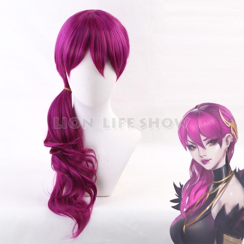 Jogo personagem lol k/da evelynn cosplay perucas rosa vermelho kda resistente ao calor peruca de cabelo sintético perucas cosplay