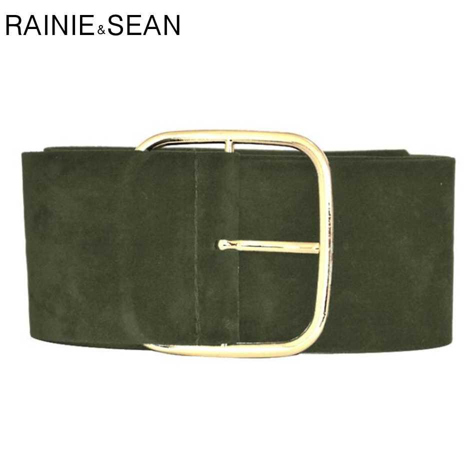 راني شون الجلد المدبوغ حزام الإناث واسعة Cummerbunds للنساء موضة السيدات فستان أحزمة أسود الجيش الأخضر الجمل بورجوندي براون رمادي