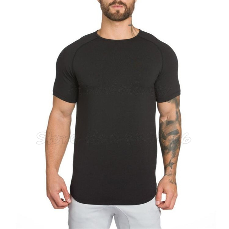 HTB1sJ0FaMjN8KJjSZFgq6zjbVXa1 Brand gyms clothing fitness t shirt men fashion extend hip hop summer short sleeve t shirt cotton bodybuilding muscle guys Brand