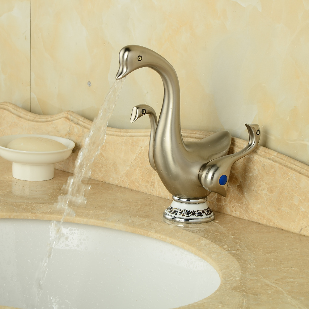 Brushed Nickel Bathroom Basin Faucet Dual Handles Vanity Sink Mixer Tap Swan Faucet Deck Mounted стоимость