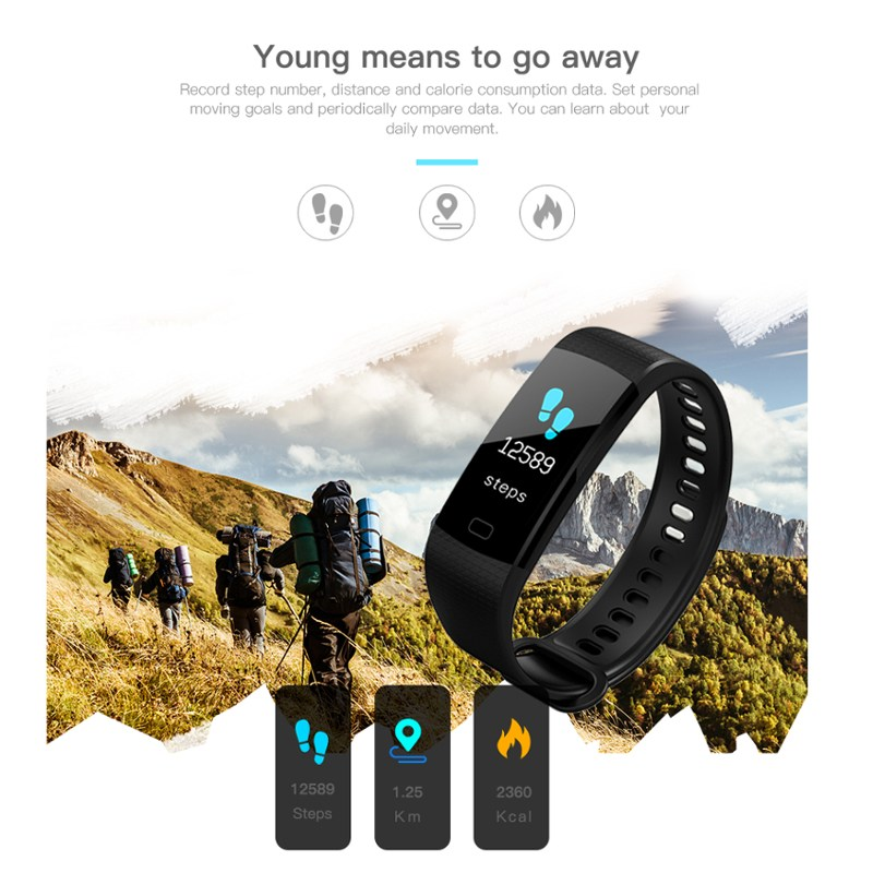 GIAUSA Fitness Tracker Color Screen Wristband Heart Rate Activity Tracker Men Women Watch Smart Bracelet for IOS Android in Smart Wristbands from Consumer Electronics