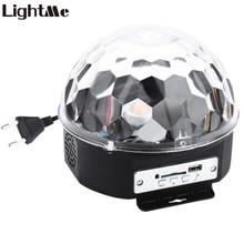 Lightme Mini RGB Stage Light Effect Crystal Magic Ball Disco DJ Light With Remote Control Speakers Support SD Card For Party KTV(China)