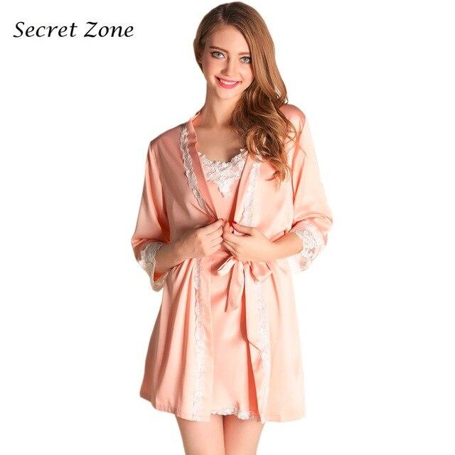 Секрет Зоны Кружева Sexy 2 Шт. Женщин Халат Установить Дышащий Мягкий Спагетти Ремень Вышивка Ночной Рубашке + Кардиган Халат