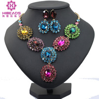 Gold Jewelry Sets Bridal Necklace Earrings Women Wedding Party Dress Statement Necklace Russian Fashion Style Earrings