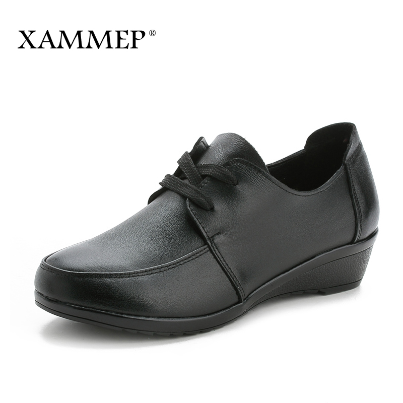 Women Flats Brand Women Shoes Women Sneakers Genuine Leather Basic Female Casual Shoes Round Toe Spring Autumn Xammep xammep women flats spring autumn brand women shoes women sneakers split leather basic female casual shoes lace up round toe