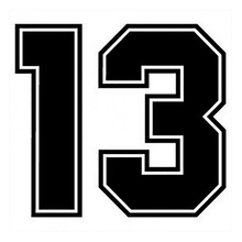 CS-930#18*20cm Number 13 funny car sticker vinyl decal silver/black for auto stickers styling decoration