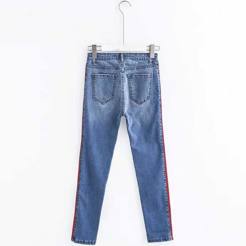d8d51e7d0dbaa ... -Tobillo longitud Pantalones vaqueros de cintura alta Mujer lado rayas  Patchwork Skinny Jeans coincidentes pantalones ...