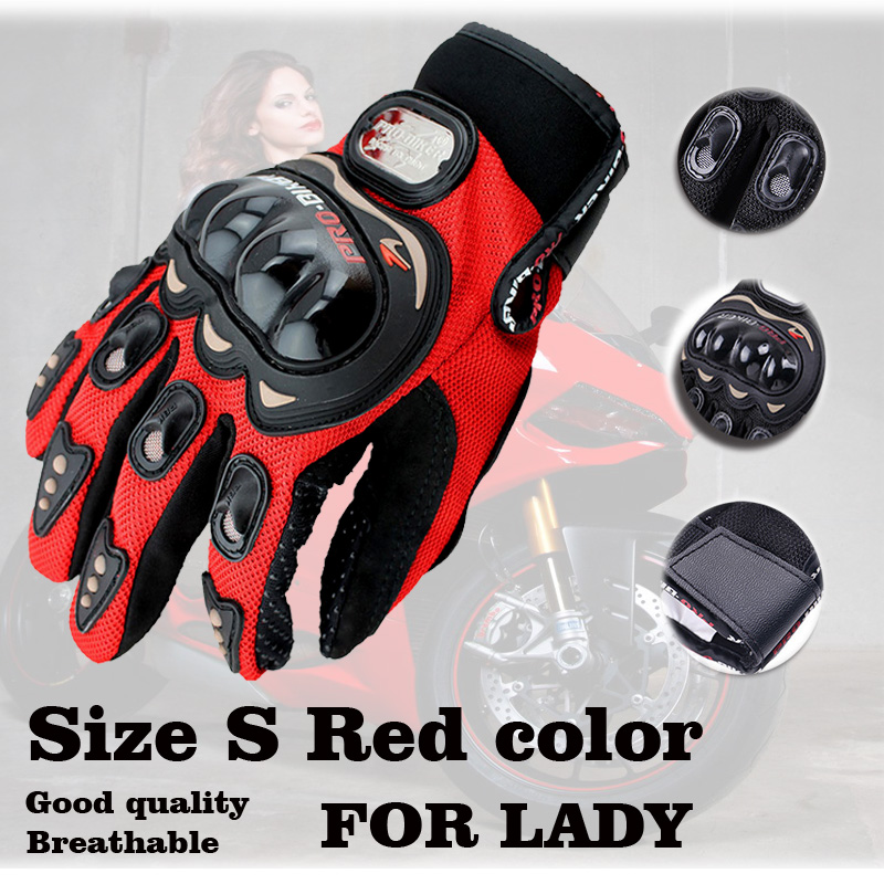 Red small size S female motorcycle gloves full finger knight protection race motorcycle woman gloves Luvas femininas Guantes