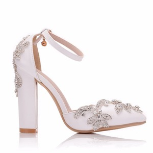 Image 3 - Crystal Queen White 11CM Rhinestone Sandals Pointed Shoes Women Sweet Luxury Platform Wedges Shoes Wedding heels High Heels