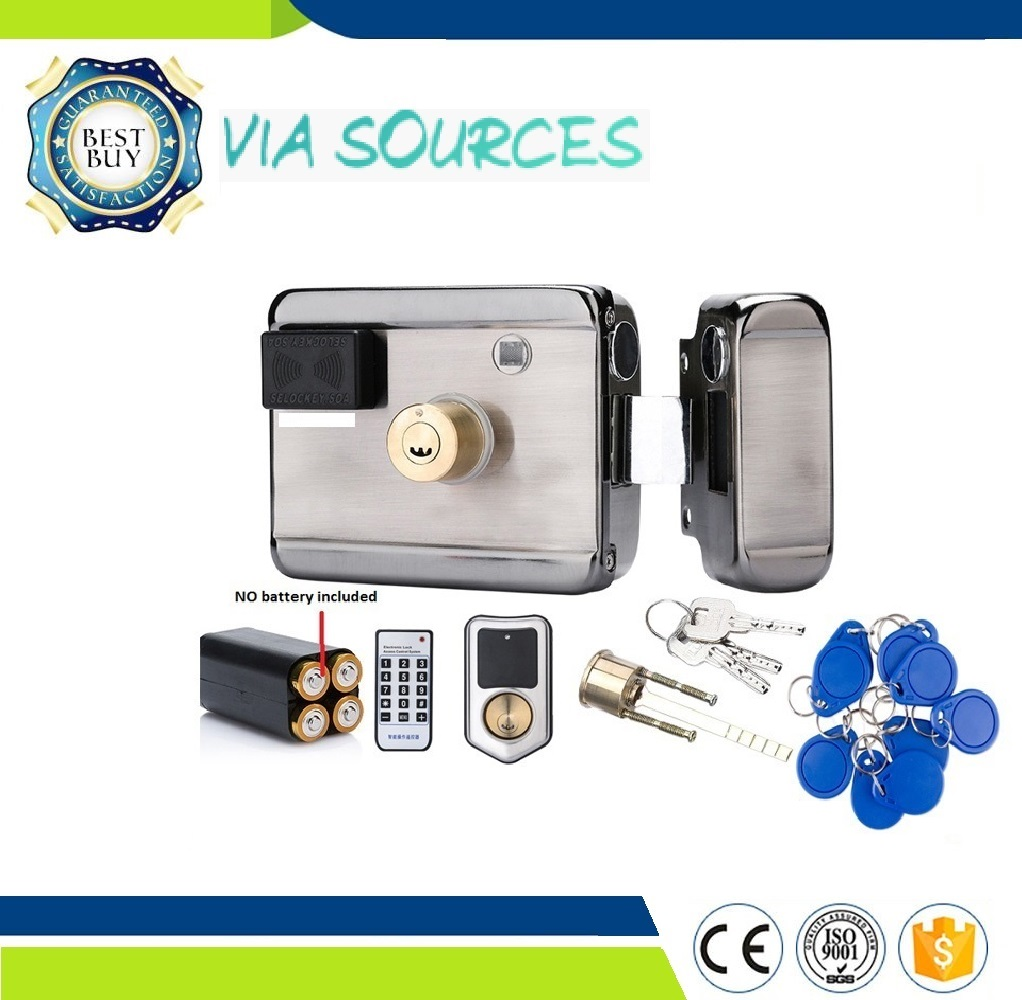 Free Shipping12VDC 13.56 IC RFID Reader Electric Gate Door Lock Access Control System Kit Battery Powered lpsecurity battery powered 12vdc 13 56 ic rfid reader electric gate door lock access control system kit with 10tags or tm tag