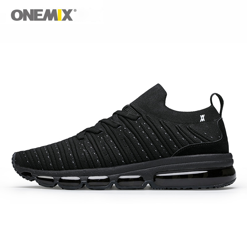 New men sport sneakers in black walking shoes breathable onemix athletic sneakers plus shoe size US12