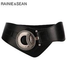 RAINIE SEAN สีดำ Cummerbunds สำหรับสตรีจริงหนังกว้างเข็มขัดเอวหญิงหนังวัวแท้สุภาพสตรีชุดเข็มขัด