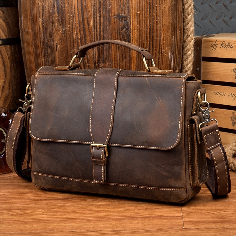 2019 New Men Shoulder Bag Vintage Genuine Leather Men Bag Brand Vintage Crossbody Bags Male Briefcase Business Bag Tote