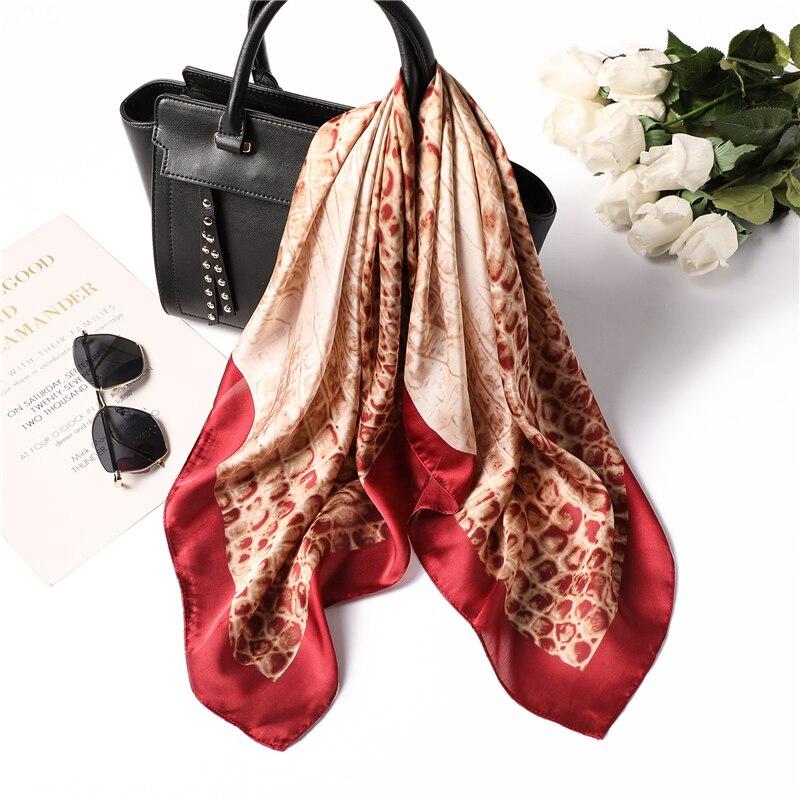 Silk Scarf Foulard Leopard-Print Head-Bag Square Female Fashion Women Tie Hair Lady
