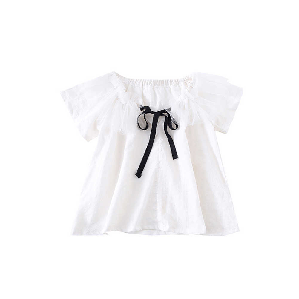 Baby Clothes Toddler Girl Kid Cute Tee Tops Sweet Japanese Style Summer Doll Shirt Bow Short-Sleeved Shirt White Blouses Collar
