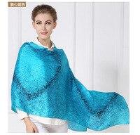 2017 new women silk shawls 180*60cm large long heart printed blue silk scarfs wraps fashion brand big size silk wraps headband