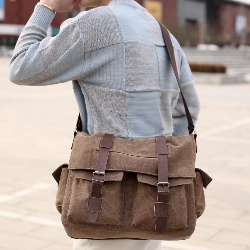 Simple Canvas Bag Men's Single Shoulder Bag Business Casual Satchel Men's Postman Shoulder Bag k 911 outdoor canvas single shoulder bag brown