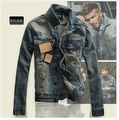 European style men retro do the old slim Distress denim coat jacket men Individuality casual denim coat jacket