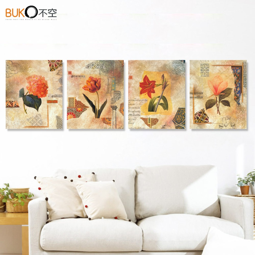 4 piece canvas painting pop art painting setting spray Vintage house decor