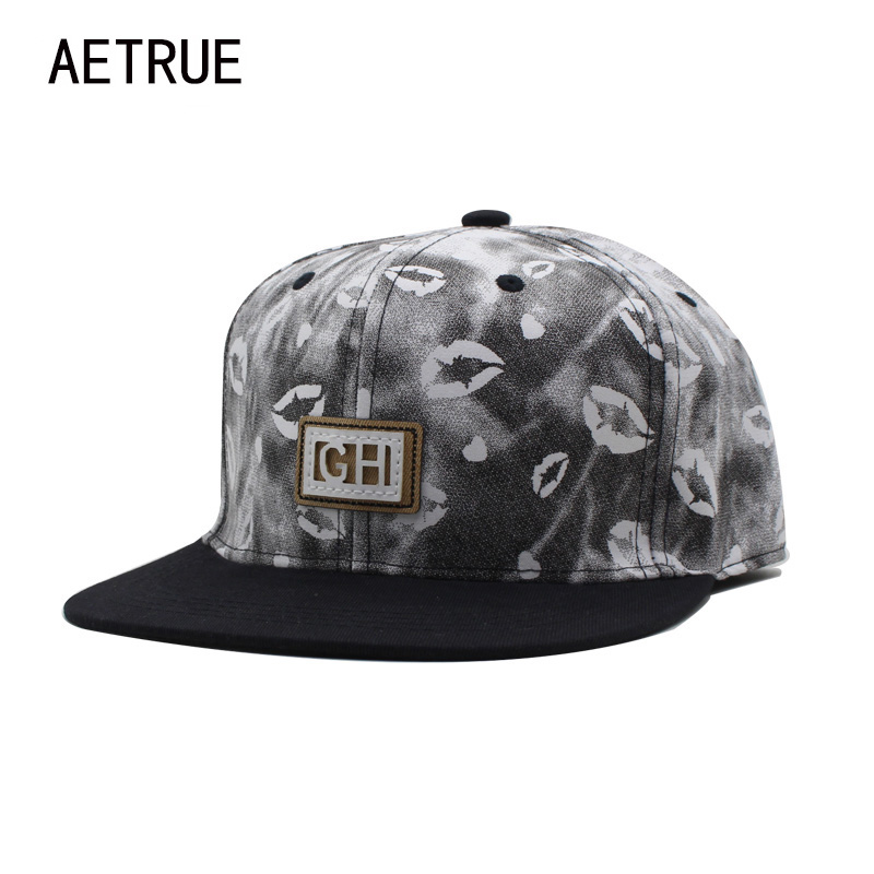 AETRUE Brand Hip Hop Lips Men Snapback Caps Baseball Cap Bone Hats For Women Casquette Summer Casual Adjustable Snap Back Caps