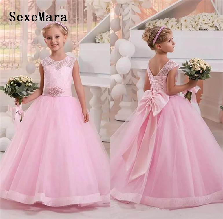 New Pink Ball Gowns For Princess Pageant Gowns Kids Birthday Party Gowns Flower Girls Dress With Bow Lace Up Back Custom Made New Pink Ball Gowns For Princess Pageant Gowns Kids Birthday Party Gowns Flower Girls Dress With Bow Lace Up Back Custom Made