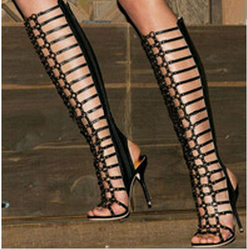 newest design knee high summer boots woman fashion balck leather open toe cut-outs high heel gladiator sandal boots
