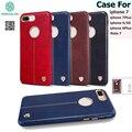 Para apple iphone 6 s plus 7 plus case original nillkin englon casos de la cubierta de cuero para el teléfono 7 contraportada incorporado hierro shell