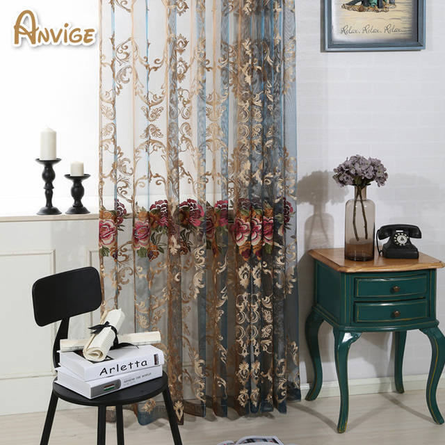 Luxury Embroidered Sheer Curtain Tulle Curtains Voile For Living Room Window Treatment Bedroom Transpa D