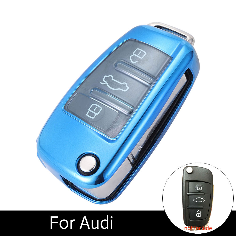 TPU Car Key Case For Audi Q7 A3 A4 A6 TT R8 Q5 3 Buttons